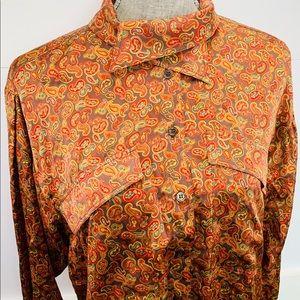 Escada Silk Paisley Cross Collar Button Up Blouse